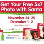 Free 5X7 photo with Santa at Walmart
