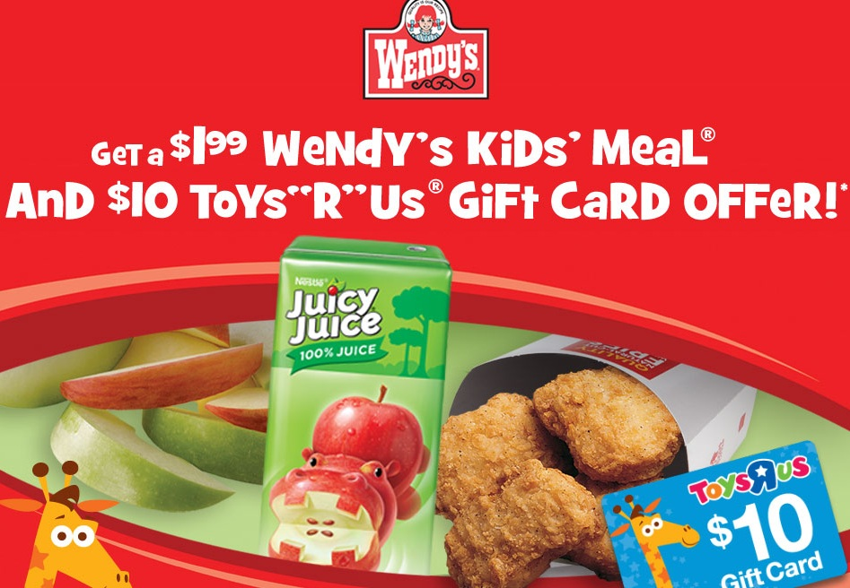 wendys kids meal Wendys Kid Meals Only $1.99 with Coupon! Plus Possible $10 Toys R Us Gift Card!