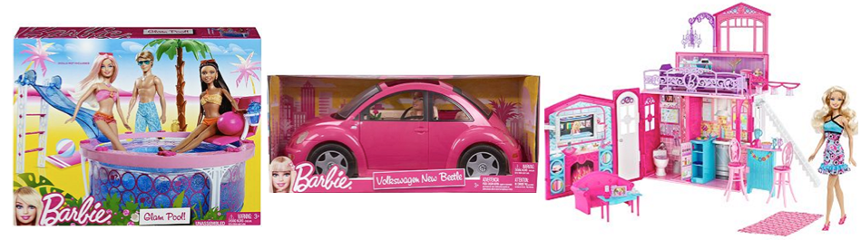 BARBIE TOYS Barbie $160 Worth Only $51 Shipped   Volkswagon Beetle Doll Set, Glam House and Doll, Glam Play Pool