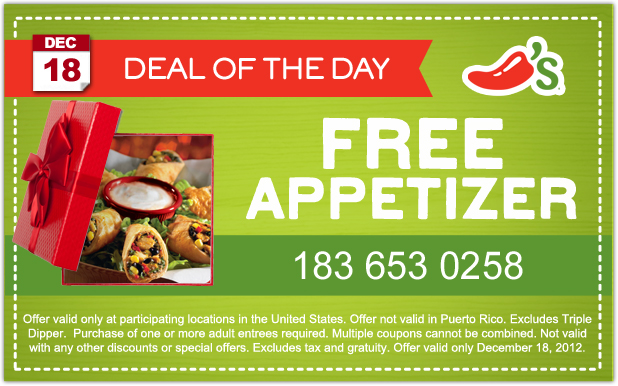 Chilis free appetizer coupon december 2018 / Ink48 hotel deals
