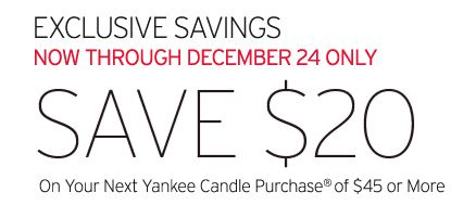 yankee Save $20 off $45 at Yankee Candle