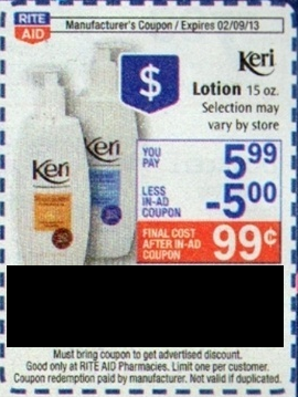 free keri lotion Rite Aid: Free Keri Lotion with coupons!