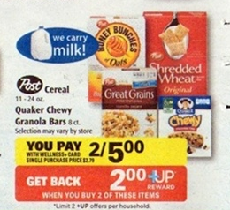 free post cereal Rite Aid:Post Cereal only $0.50 each!!