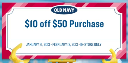 Old Navy $10 off a $50 Purchase Coupon!