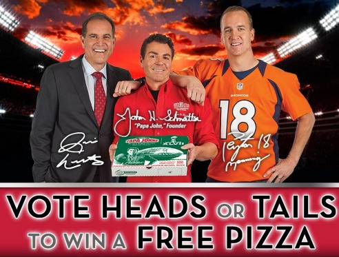 Papa Johns: Call the Super Bowl Coin Toss & Win a  FREE Large Pizza