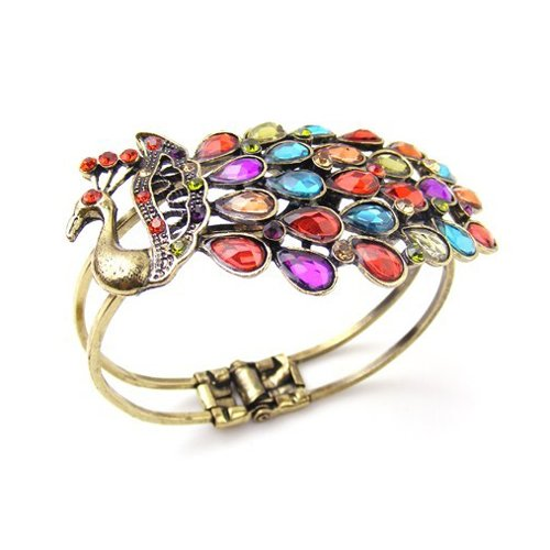 peacock23 Rhinestone Peacock Copper Bangle Bracelet only $3.49 shipped!
