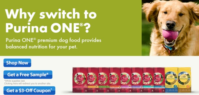 FREE Purina One pet food sample