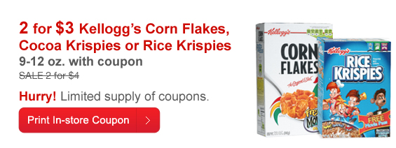 storecoupon CVS: Possibly Free Kellogg's Cereal Today and Tomorrow Only
