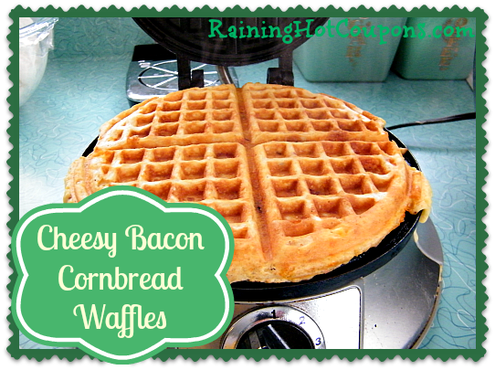 Cheesy Bacon Cornbread Waffles
