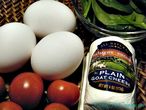 Tomato Goat Cheese Spinach Omelette Ingredients Fresh Tomato, Goat Cheese, and Spinach Omelette Recipe ~ A Fit Start to Your Day