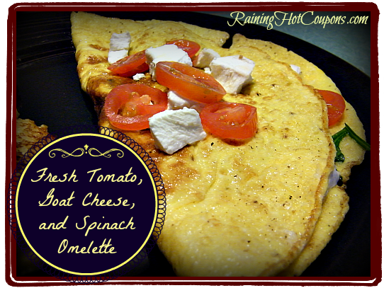 Fresh Tomato Goat Cheese and Spinach Omelette ~ A Fit Start to Your Day