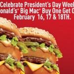 McDonald's: Buy 1 Big Mac Get 1 FREE!