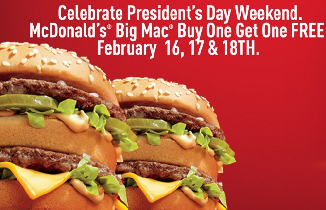 McDonalds: Buy 1 Big Mac Get 1 FREE!