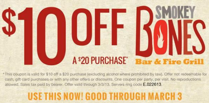 screen shot 2013 02 26 at 1 56 33 pm Smokey Bones: $10 Off a $20 Purchase (Valid Through 3/3!)
