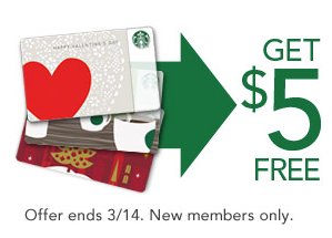 starbucks2 FREE $5 Starbucks Gift Card (New Starbucks Rewards Members only)