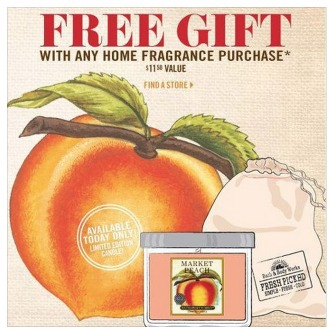 Body Works: FREE Bag and Peach 4 oz Candle with Purchase (No Coupons
