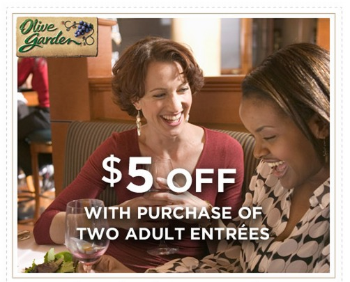 Olive Garden Coupon: $5.00 Off 2 Entrees!