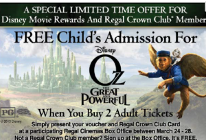 oz 300x204 Free Childs Admission to Oz The Great and Powerful