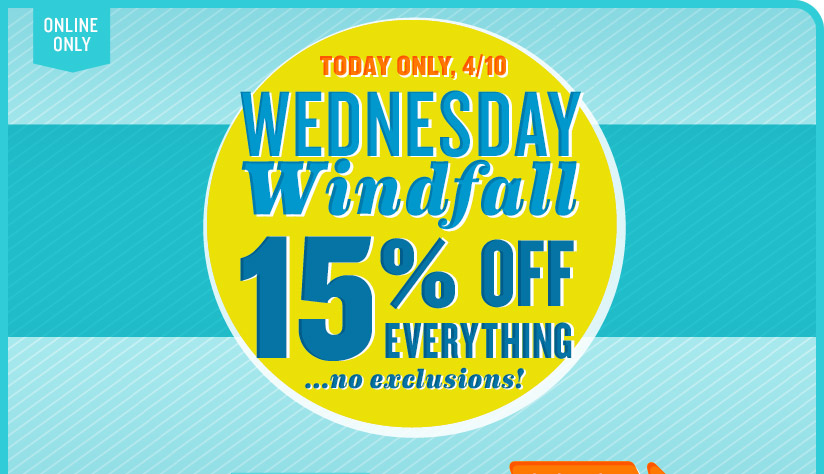 04102013 US Windfall Email 03 *HOT* Oldnavy.com: 15% Off Entire Purchase (No Minimum) + 3% Cash Back (Today Only)!