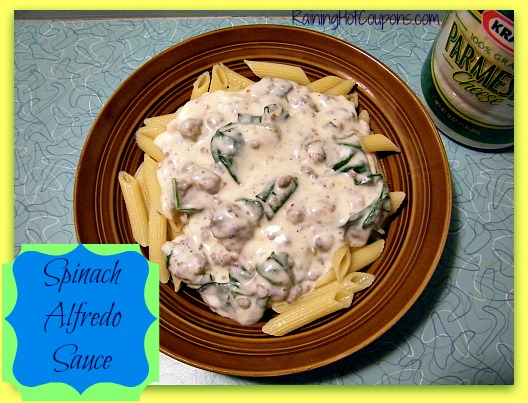 Homemade Alfredo Sauce with Spinach Recipe Image