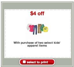 apparel coupon target