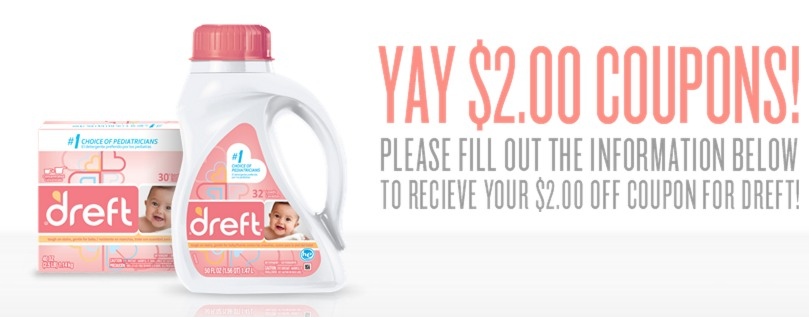 Enjoy $1 off one Dreft Newborn Laundry Detergent or Dreft Active Baby Laundry Detergent. Excludes trial/travel size. Limit ONE coupon per purchase of products and quantities stated. You may pay sales tax. Not valid in Puerto Rico. Limit of one coupon per household. Digital Coupons and paper coupons may not be combined on the purchase of a.