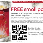 Free Small PopCorn at AMC Theaters (Through 4/15)!