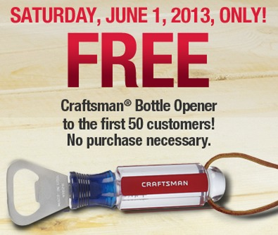ace hardware free craftsman bottle opener coupon first 50 in the store saturday. Black Bedroom Furniture Sets. Home Design Ideas