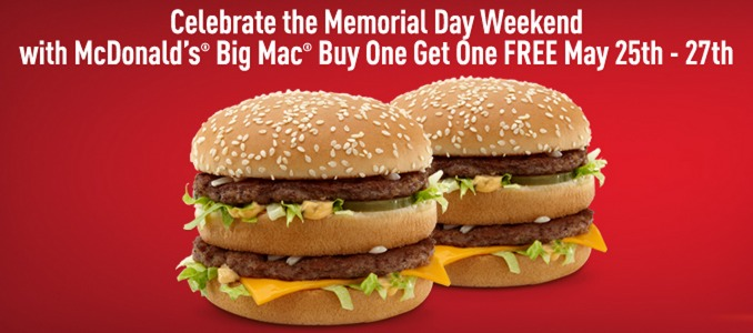 McDonalds: Buy 1 Get 1 FREE Big Mac Burger!