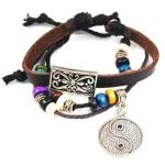 Ying Yang Leather Bracelet $4.39 + FREE Shipping!
