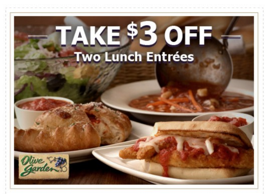Olive Garden Coupon 300 Off 2 Lunch Entrees