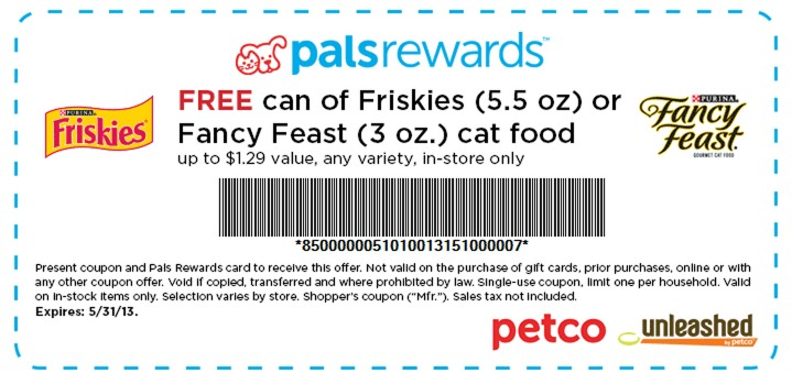 Petco: FREE Can of Friskies or Fancy Feast Cat food (up to a $1.29 Value) Coupon