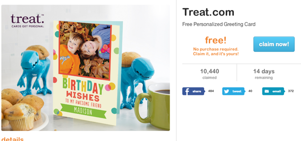 Treat.com Million Card Giveaway *HOT* FREE Treat.com Greeting Card on LivingSocial!