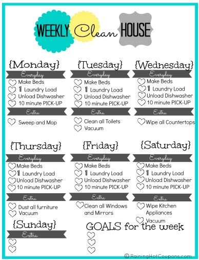 free printable weekly house cleaning list