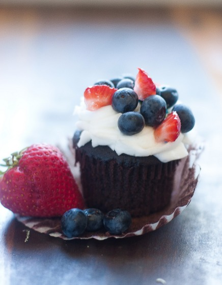 Red, White, and Blue Chocolate Cupcakes