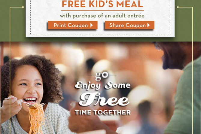 free kids meal at Olive Garden