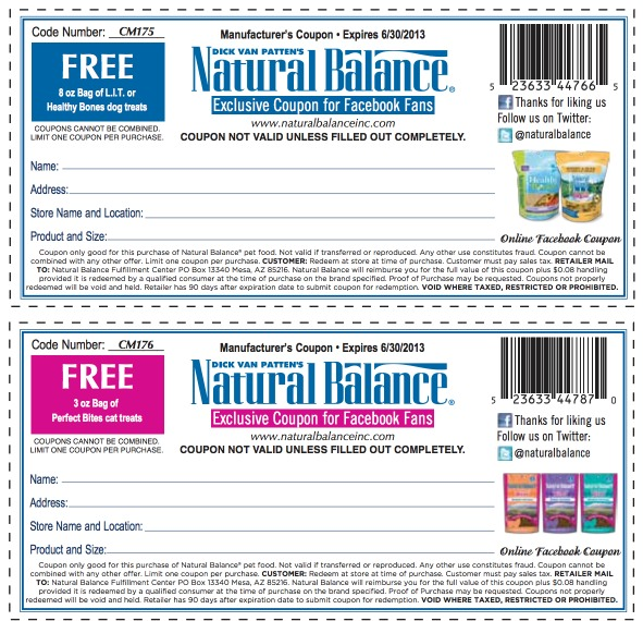 Natural Balance Dry Food Coupons