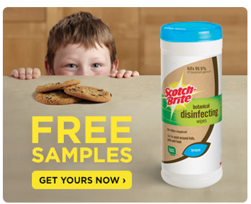 scotch FREE Scotch Brite Botanical Disinfecting Wipes sample!