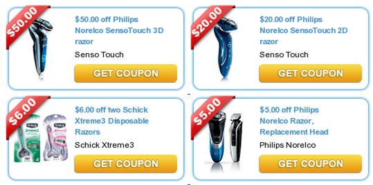 LOTS of High Value New Coupons ($50.00 Off Norelco Razor, $20 off Razor and More!) Direct Links!