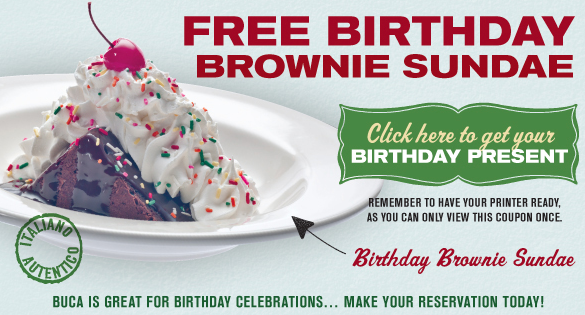 graphic relating to Buca Di Beppo Coupons Printable known as Free of charge Brownie Sundae at Buca Di Beppo For Your Birthday!