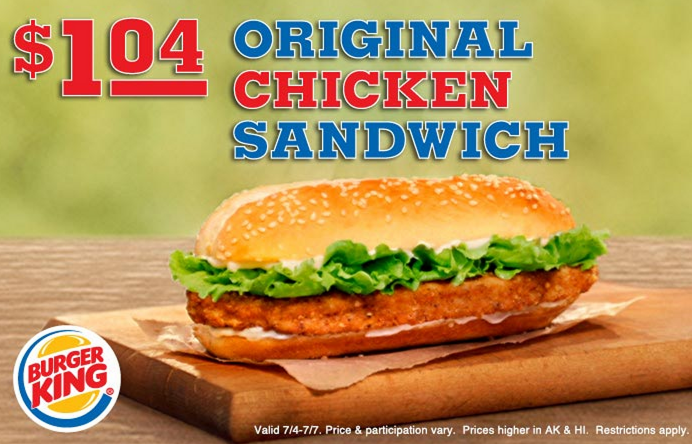 burger king coupon Burger KIng: Original Chicken Sandwich Only $1.04 and Ice Cream Cones $0.50!