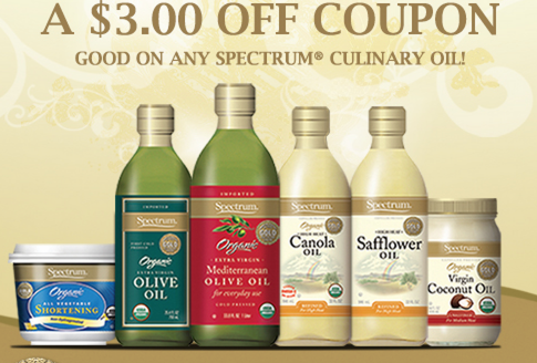 coupon7 *HOT* $3/1 Spectrum Organic Oil Coupon = Coconut Oil Jar Only $3.42!