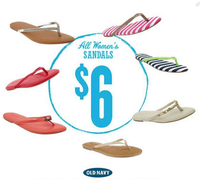 flip Old Navy: ALL Womens Sandals Only $6 (Tomorrow Only!)