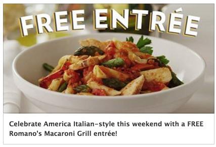 Romanos Macaroni Grill Coupon: Buy 1 Entree, Get 1 FREE