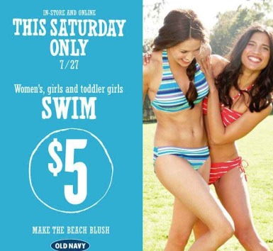 Old Navy: $5 Swim Suits (Women, Girls, Toddlers)