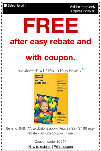 rebate Staples: FREE Photo Plus Paper!