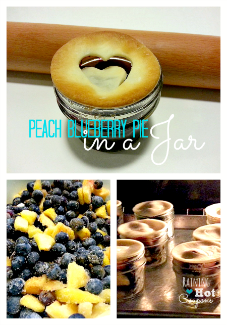 Peach blueberry pie in a jar