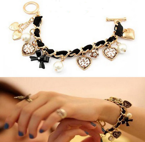 bracelet 2 *HOT* Juicy Couture Inspired Blue Leather Woven Bracelet with Charms $1.20 + FREE shipping!