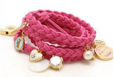 bracelet *HOT* Juicy Couture Inspired Blue Leather Woven Bracelet with Charms $1.20 + FREE shipping!