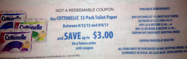 catalina *HOT* Cottonelle Big Rolls Toilet Paper 12 pack ONLY $2.50!